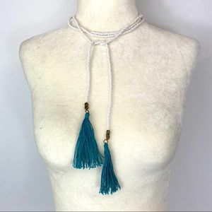 White seed bead with aqua tassel wrap necklace